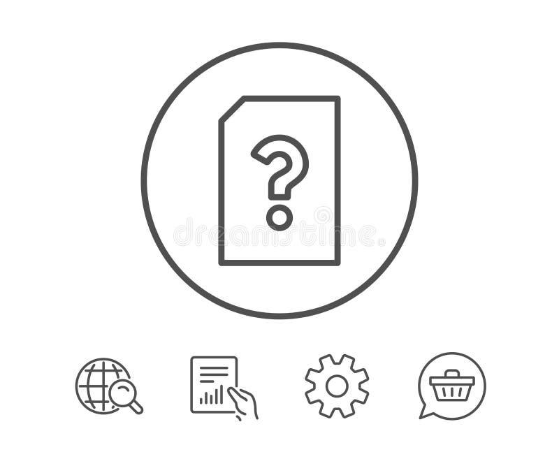 Niewiadoma dokument linii ikona Kartoteka z pytaniem ilustracja wektor