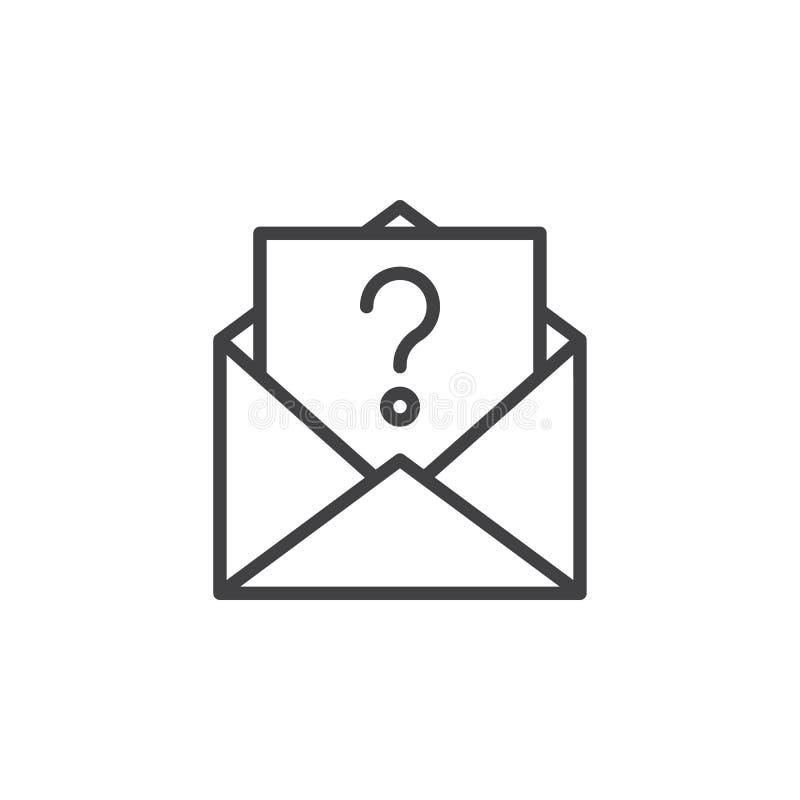 Niewiadoma email linii ikona ilustracji