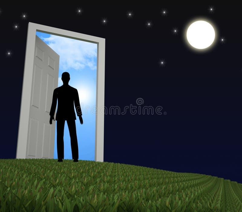 Niewiadoma tajemnica Znaczy Drzwiowe ramy I Wprawiać w zakłopotanie ilustracja wektor