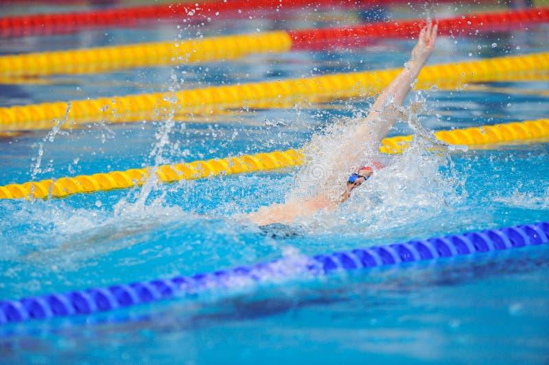 Niewiadomy pływaczki konkurowanie w Dinamo basenie w Rumuńskim Międzynarodowym mistrzostwa dopłynięciu obraz stock