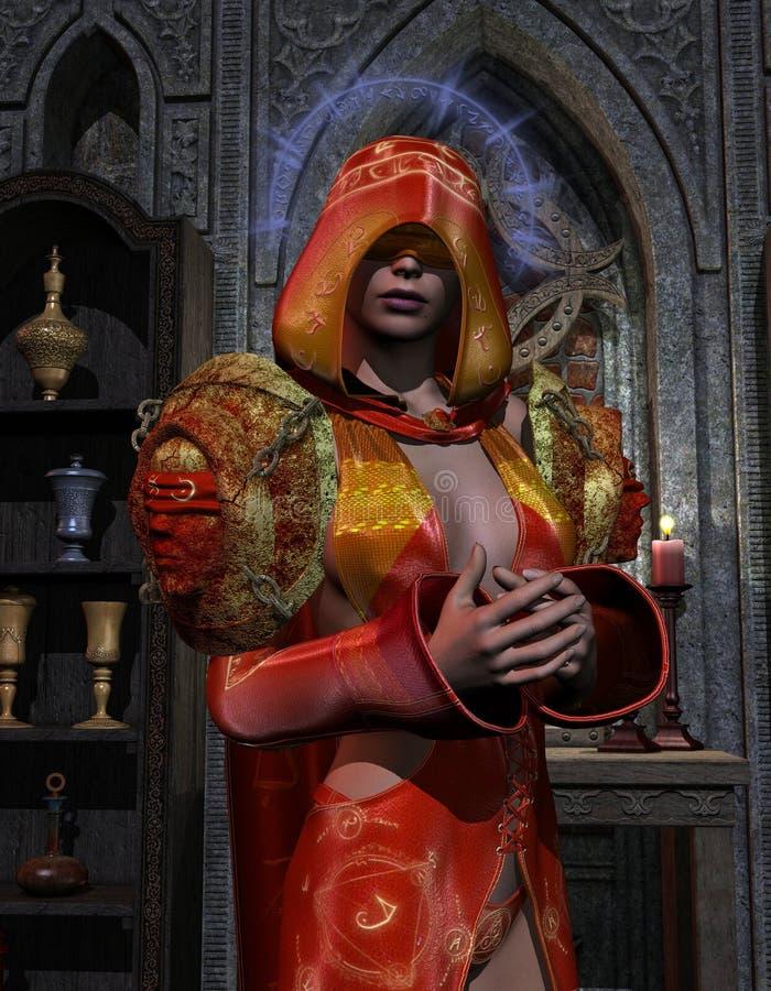 niewidoma święta kapłanka royalty ilustracja