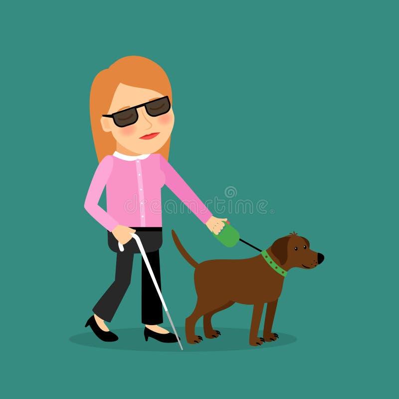 Niewidoma kobieta z przewdonika psem ilustracji