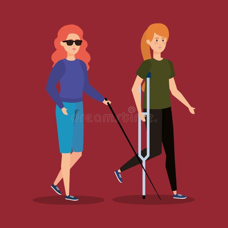 Niewidoma kobiety stora, osoba z szczudłami i ilustracja wektor
