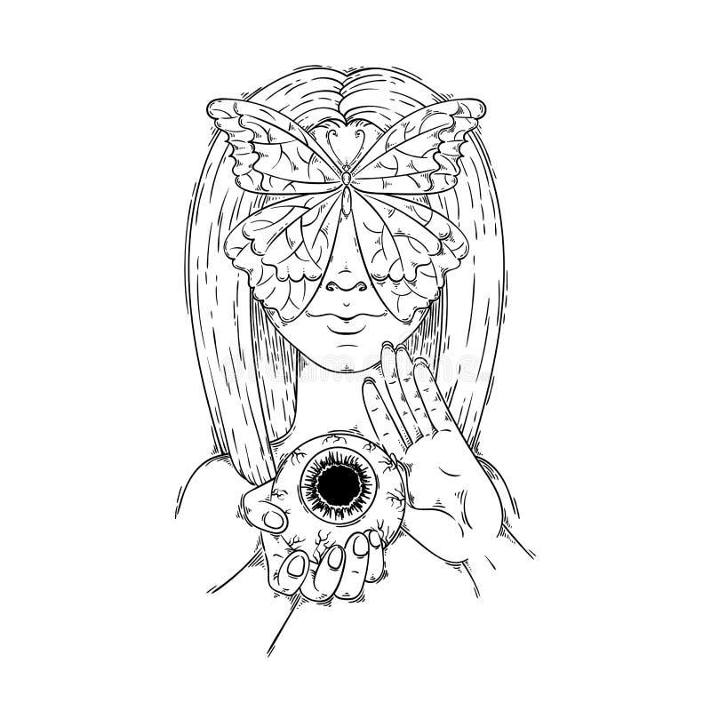 Niewidoma motylia dziewczyna Piękna kobieta z długie włosy i strasznym okiem w ręce Fantazja, duchowość, tatuaż sztuka, guślarstw ilustracji