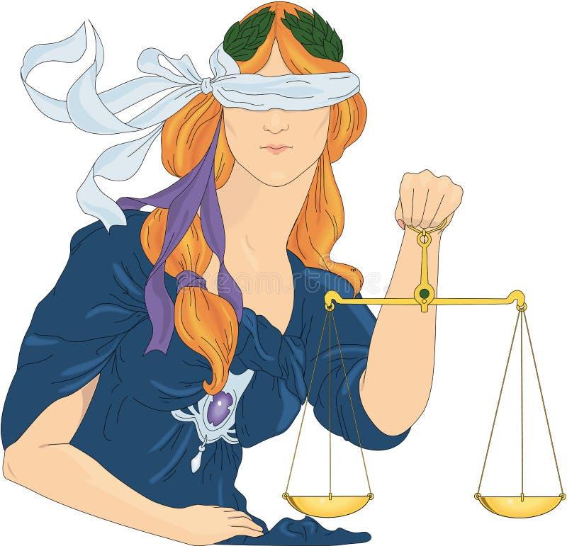 Niewidoma sprawiedliwość - sztuki Nouveau wektoru ilustracja royalty ilustracja