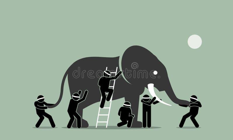 Niewidomi mężczyzna dotyka słonia ilustracji
