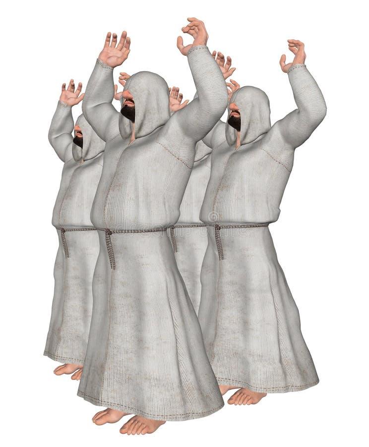 Niewidomi zwolenników czciciele Ilustracyjni ilustracja wektor