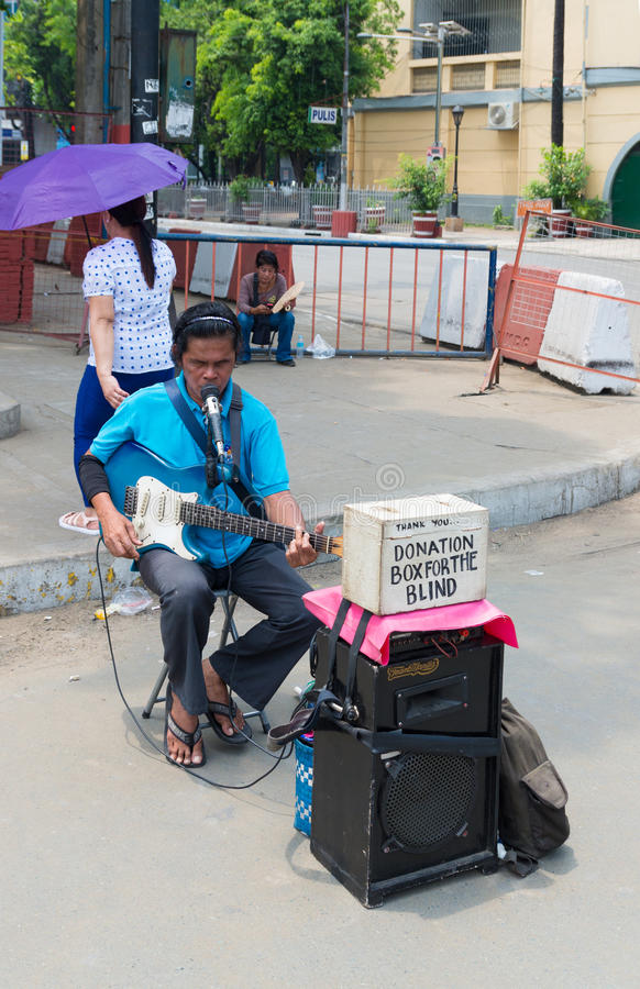 Niewidomy gitara gracz zdjęcie royalty free