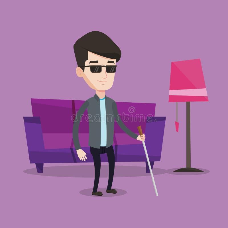 Niewidomy mężczyzna z kija wektoru ilustracją ilustracja wektor
