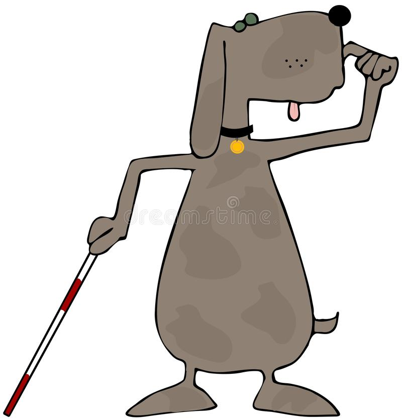 niewidomy pies ilustracji
