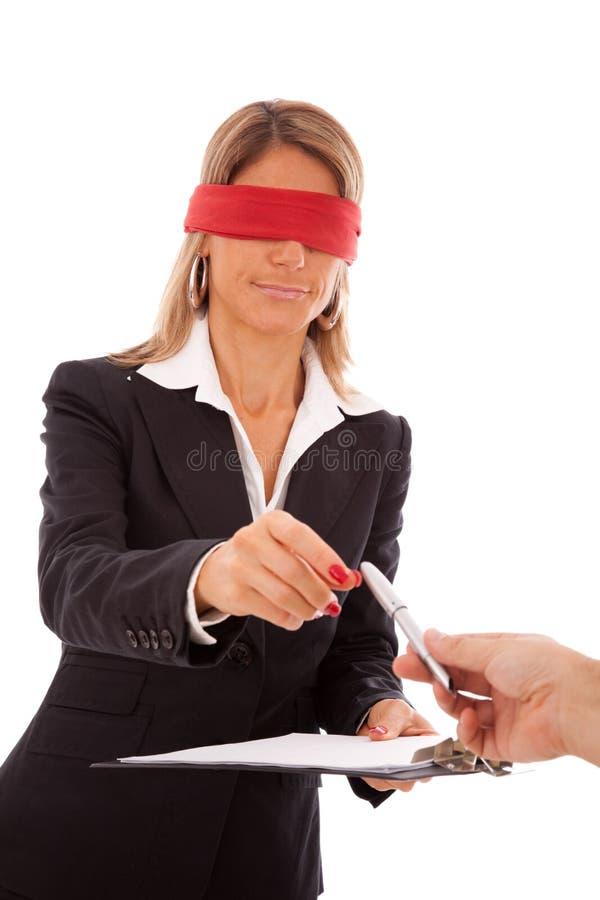 niewidomy podpis obrazy stock
