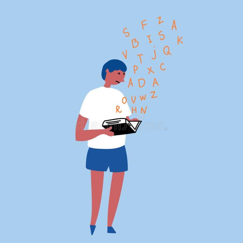 Niewidzialna nieład dysleksja Dysleksja w chłopiec ilustracja wektor