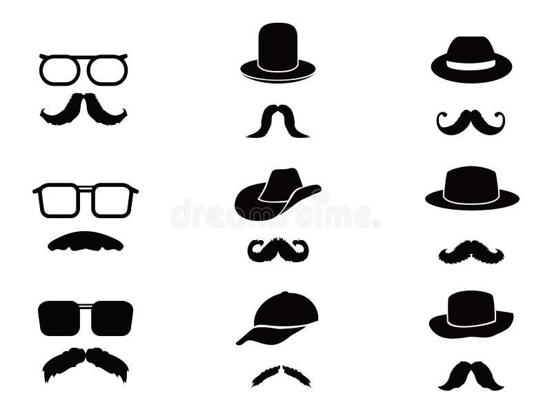 Niewidzialny mężczyzna z wąsy, szkłami i kapeluszami, ilustracji