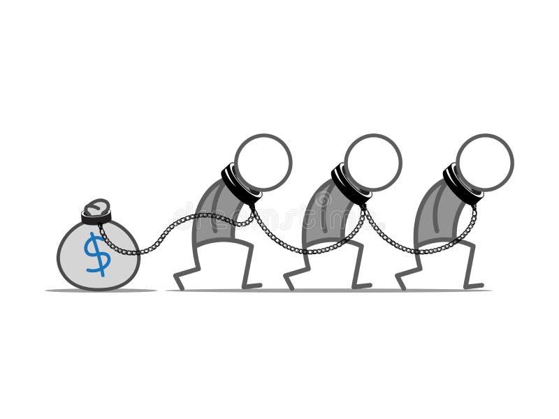 Niewolnik pieniądze ilustracji