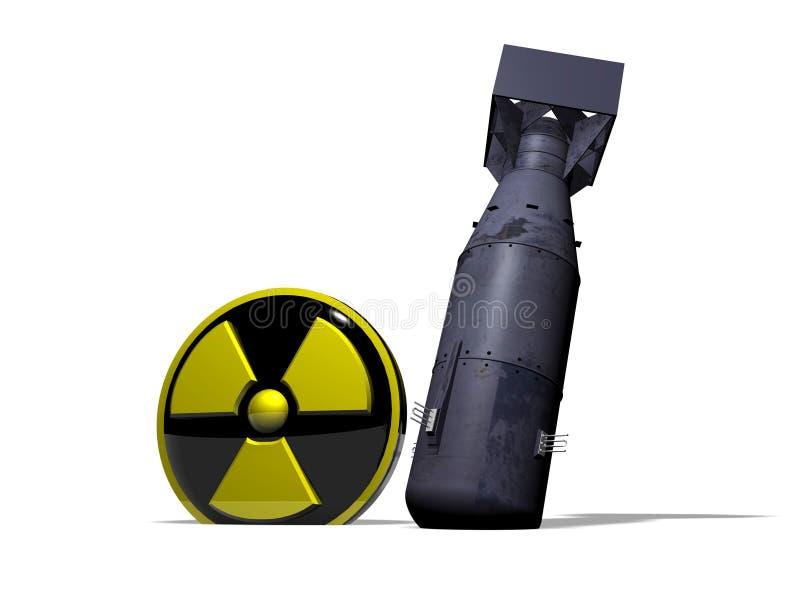 Niewybuchły Little Boy blisko promieniotwórczość loga ilustracja wektor