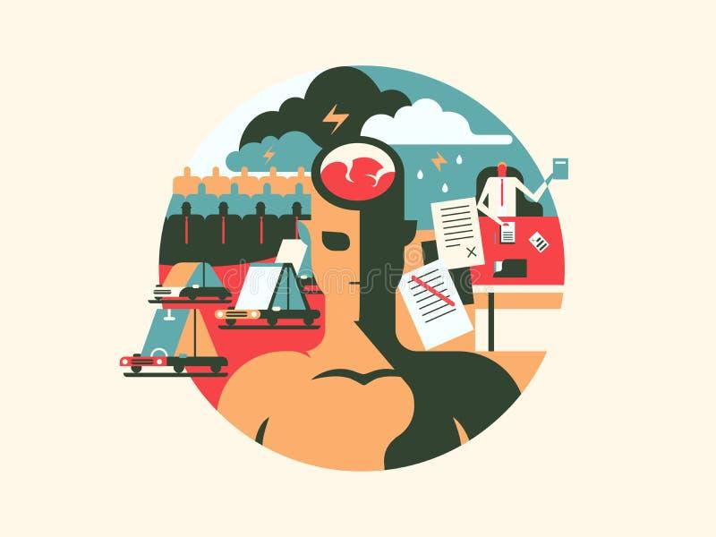 Niewygoda i stres ilustracja wektor