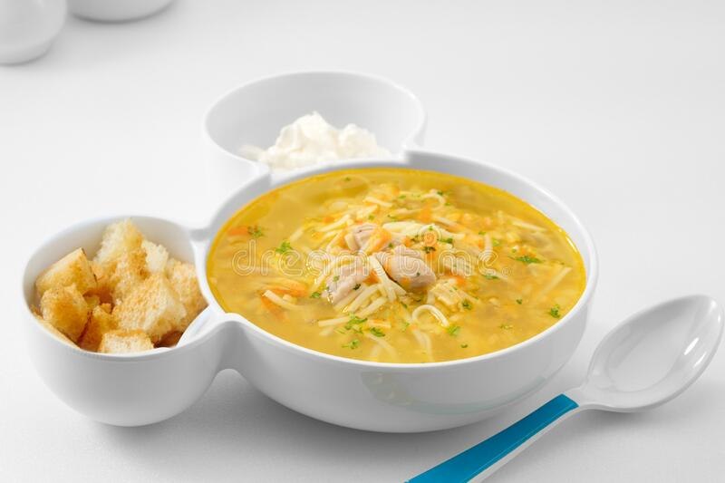 Niezła, rosyjska zupa makaronowa na białym grzbiecie zdjęcie stock