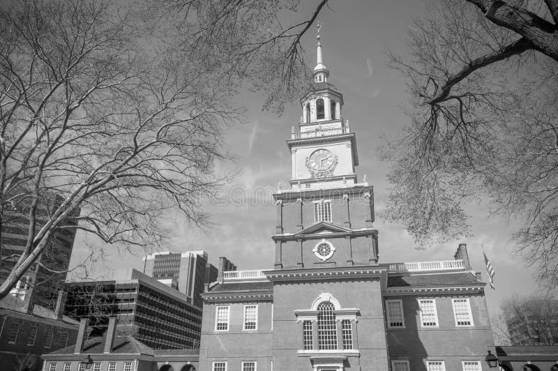Niezależność Hall w czarny i biały fotografia stock