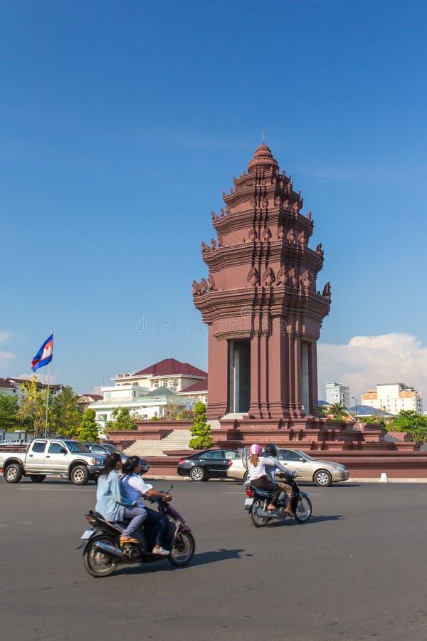 Niezależność Pomnikowy Vimean Ekareach w Phnom Penh, Kambodża obrazy royalty free