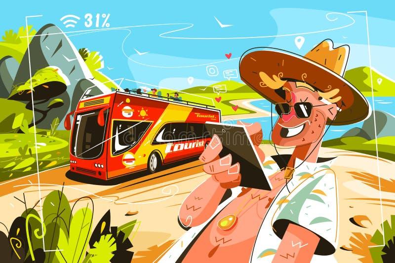 Niezawodni turyści w autobusie ilustracja wektor