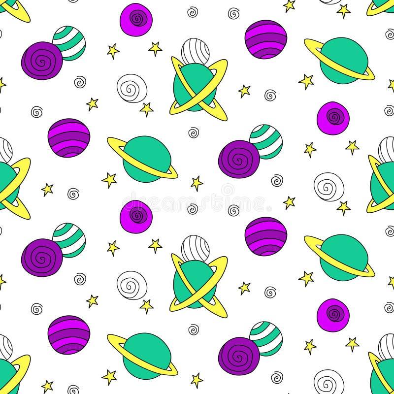 Niezawodny wzór dla dzieci Różne kolorowe planety i gwiazdy rysunkowe w kosmosie Tło i tekstura kosmiczna wektora Dla dzieci ilustracja wektor