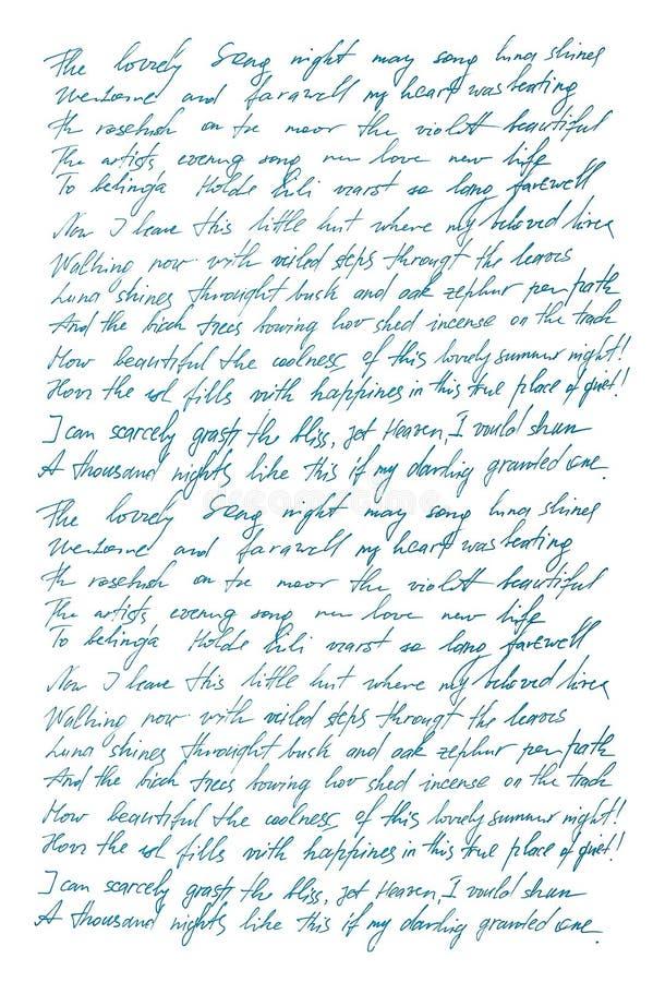 Niezdefiniowanego teksta angielski Ręcznie pisany listowy Handwriting Kaligrafuje zdjęcia stock