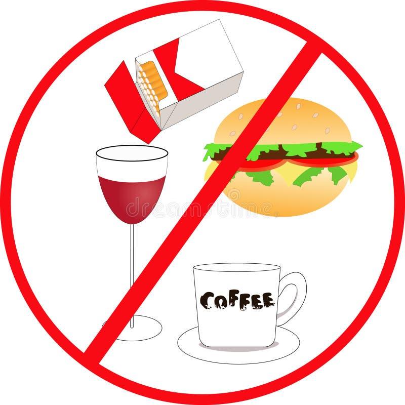 Niezdrowy jedzenie i napój ilustracji