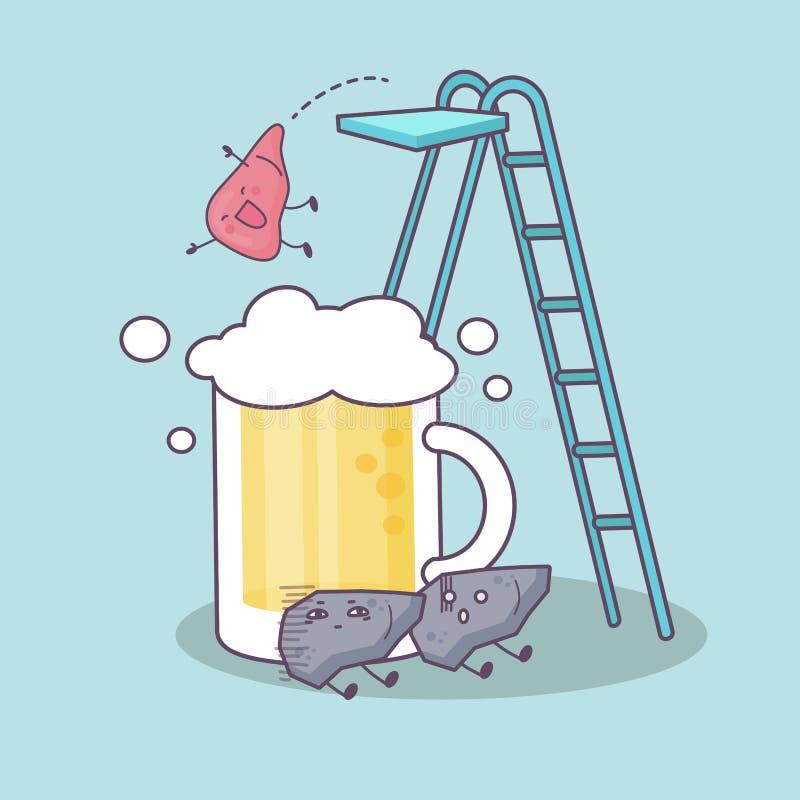 Niezdrowy trunek pijący i wątróbka ilustracji