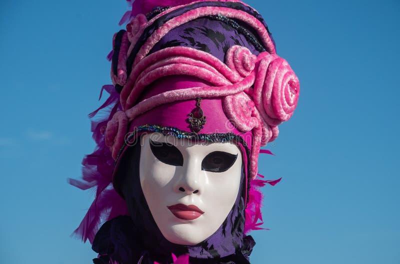 Niezidentyfikowana kobieta z maską przy karnawałem, Wenecja zdjęcie stock