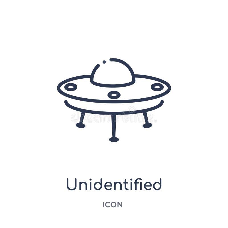 niezidentyfikowanego latającego przedmiota ikona od transportaytan kontur kolekcji Cienieje kreskową niezidentyfikowanego latając ilustracja wektor