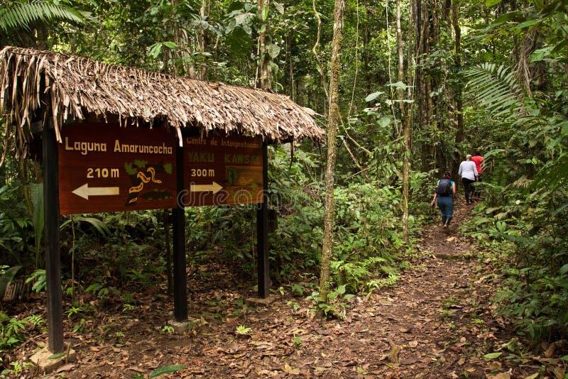 Niezidentyfikowani turyści na wycieczki turysycznej trekking zdjęcie stock