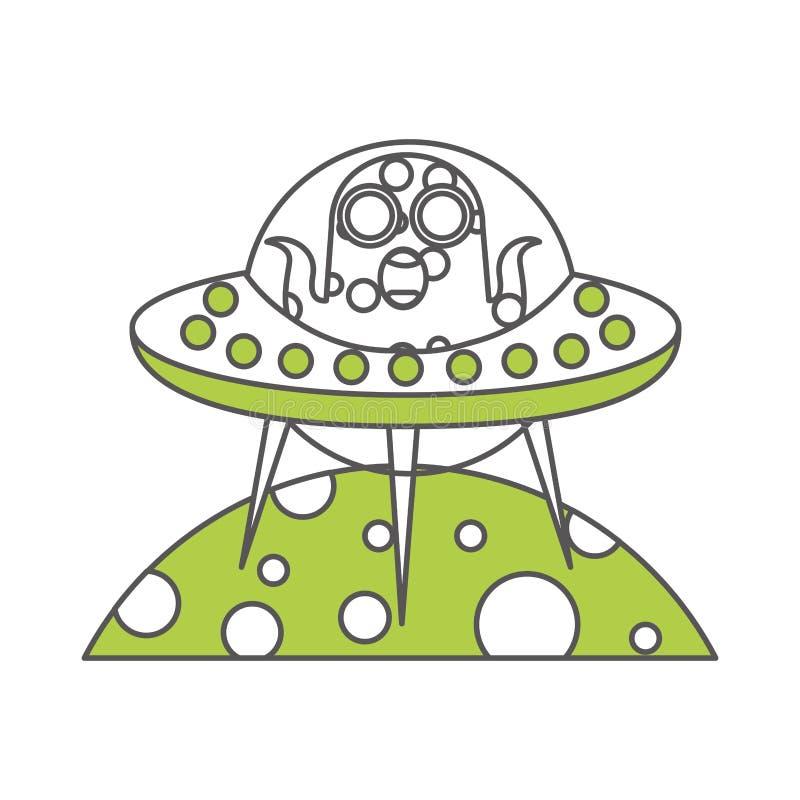 Niezidentyfikowany latający przedmiot na planety ikonie royalty ilustracja