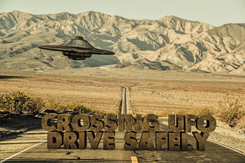 Niezidentyfikowany latający przedmiot nad Arizona pustynią ilustracja wektor