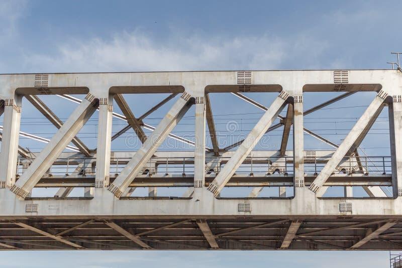 Niezidentyfikowany metro pociągu żelaza most z zygzag wykłada budującego usi fotografia royalty free