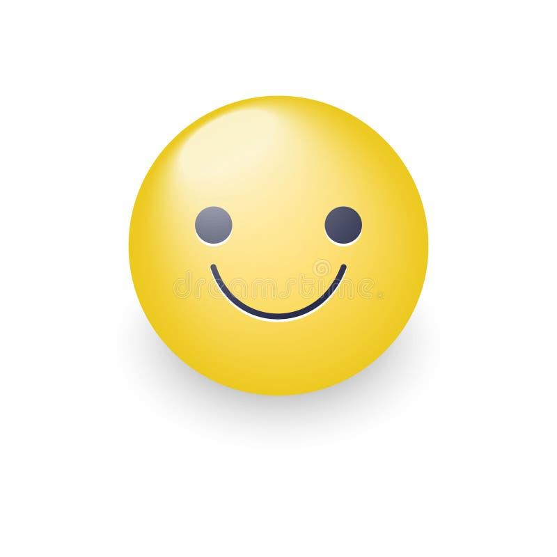 Nieznacznie kreskówki uśmiechnięta żółta wektorowa twarz Uśmiechnięty zabawy emoticon z szczęśliwym nastrojem Uradowana uśmiech i royalty ilustracja