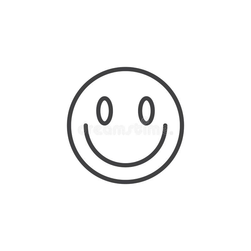 Nieznacznie Uśmiechać się twarzy emoji linii ikonę ilustracji