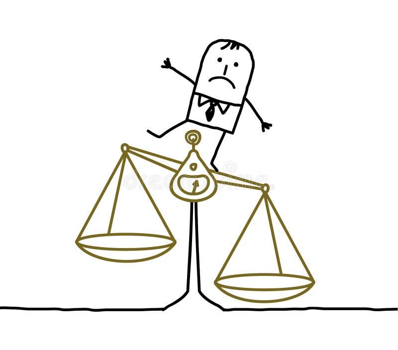 niezrównoważenia niesprawiedliwości mężczyzna ilustracji