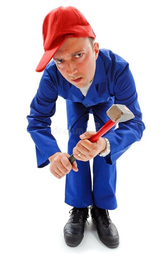 niezręczny młoteczkowy repairman fotografia royalty free