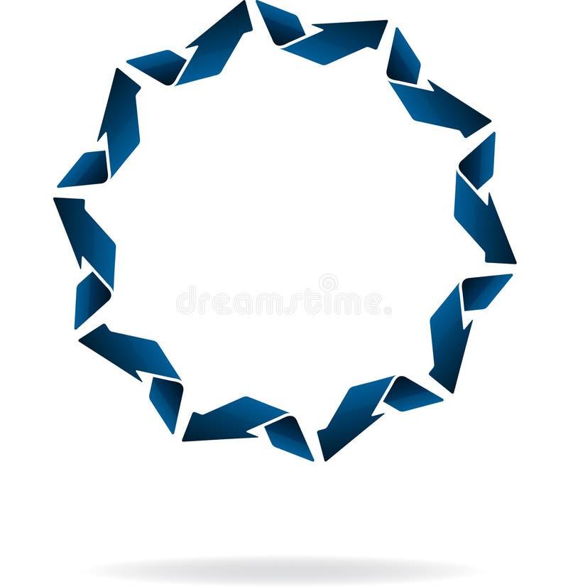 Niezwykła round błękita 3D strzała rama w mieszkanie stylu ikonie z shado ilustracji