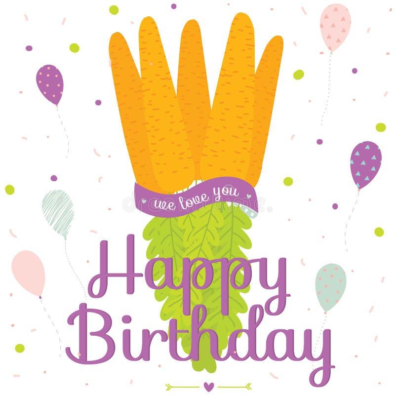 Niezwykła wektorowa wszystkiego najlepszego z okazji urodzin karta z marchewką ilustracji