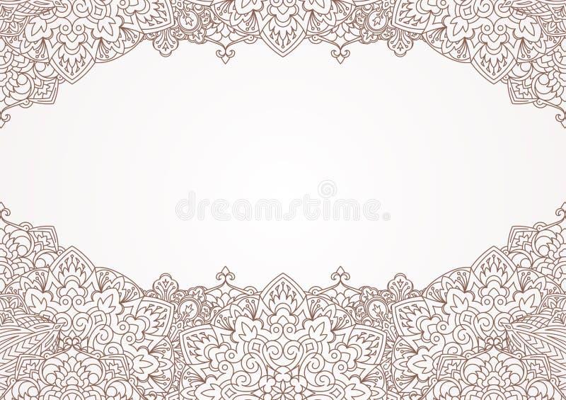 Niezwykły dekoracyjny tło z henna elementami w Wschodni mandal royalty ilustracja