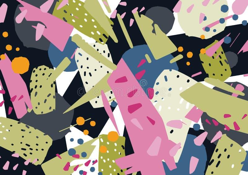 Niezwykły horyzontalny tło z kolorowym abstraktem plami, rozmazy, drzazgi lub frakcje, Jaskrawy barwiony elegancki ilustracji