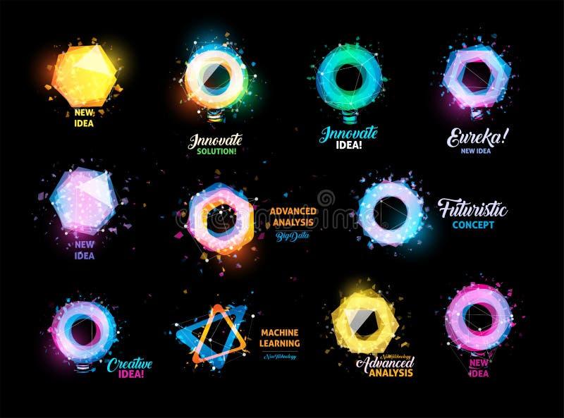 Niezwykłych abstrakcjonistycznych geometrycznych kształtów loga wektorowy set Kurenda, sześciokąt, poligonalni kolorowi logotypy  ilustracji