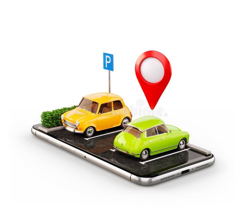Niezwyk?y 3d os smartphone ilustracyjny zastosowanie dla onlinego gmerania parking bezp?atnego miejsca na mapie ilustracji