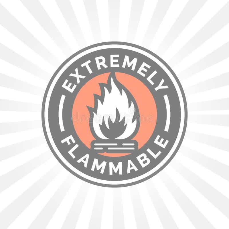 Niezwykle flammable ikona Pożarniczego zagrożenia znak Ostrożność płomienia symbol royalty ilustracja