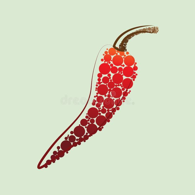 Niezwykle gorący czerwony chili pieprz umieszczający na białym tle royalty ilustracja