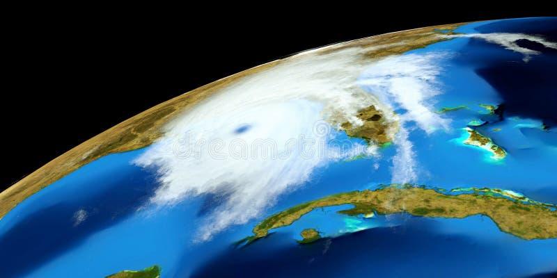 Niezwykle realistyczna i szczegółowa wysoka rozdzielczość 3D ilustracja huragan Strzał od przestrzeni Elementy ten wizerunek są f zdjęcia royalty free