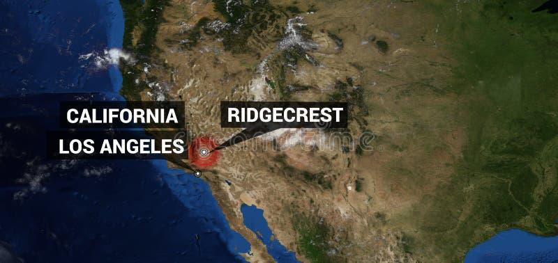 Niezwykle realistyczna i szczegółowa wysoka rozdzielczość ilustracja trzęsienie ziemi w Ridgecrest Kalifornia Mapa strzał od prze zdjęcia royalty free