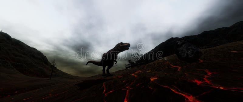 Niezwykle realistyczny i szczegółowy wysoka rozdzielczość 3d illustratation T-Rex dinosaur podczas dinosaura wygaśnięcia ilustracji