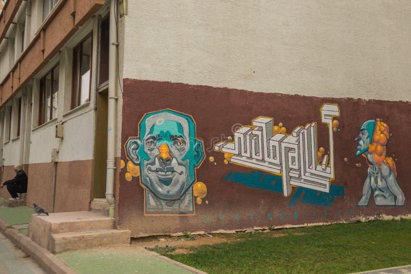 Niezwykli graffiti na ścianie ordynariusza dom Eskisehir indyk zdjęcie stock
